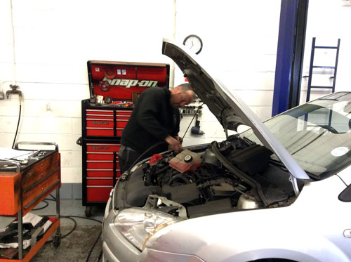A car being serviced